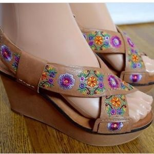 Lucky Brand embroidered leather wedges-HTF